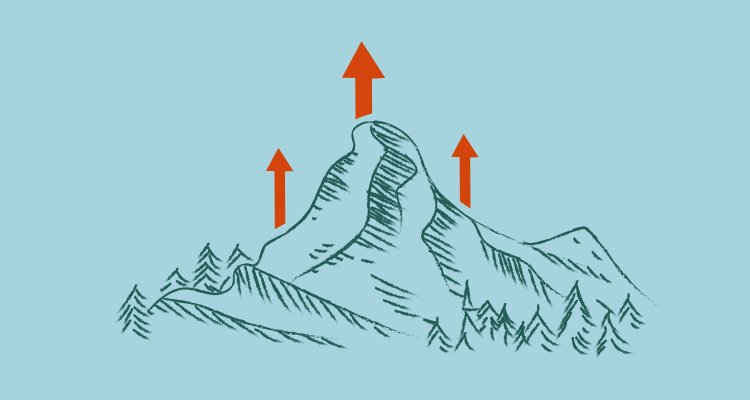 Illustration of mountain with red arrows going up